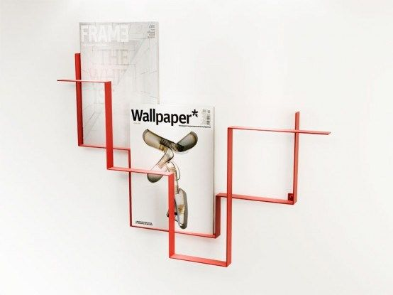 wooden magazine rack wall mount