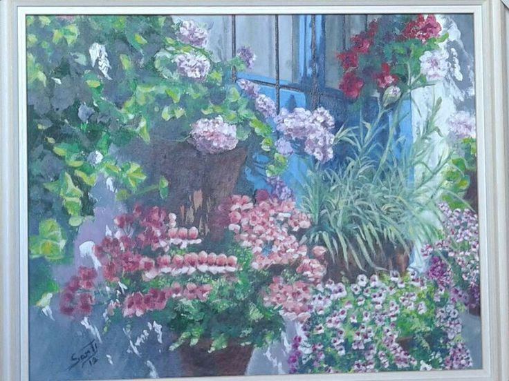 Pintura. Ventana con flores. Óleo sobre lienzo.