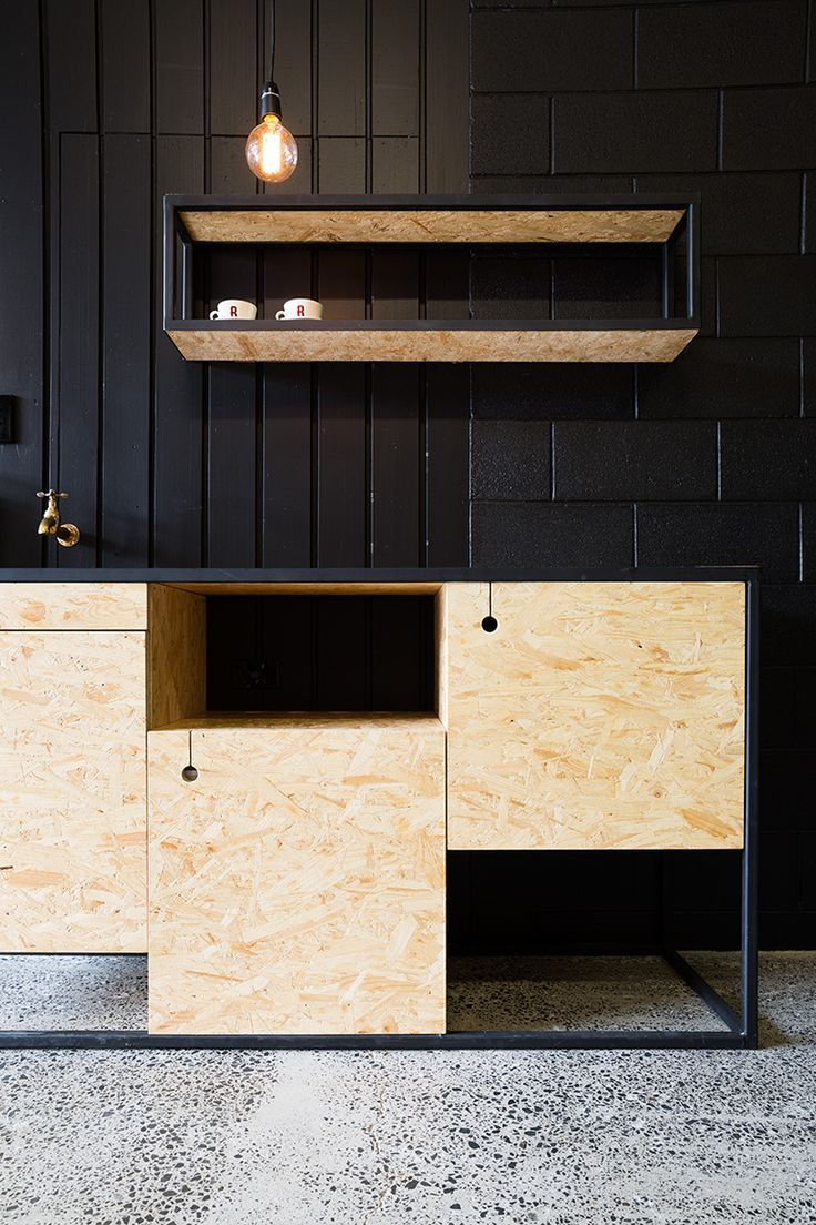 Kitchen : Chipboard  / Black Wood /  Brass-Copper fittings (De trekgaten! | Red Architecture)