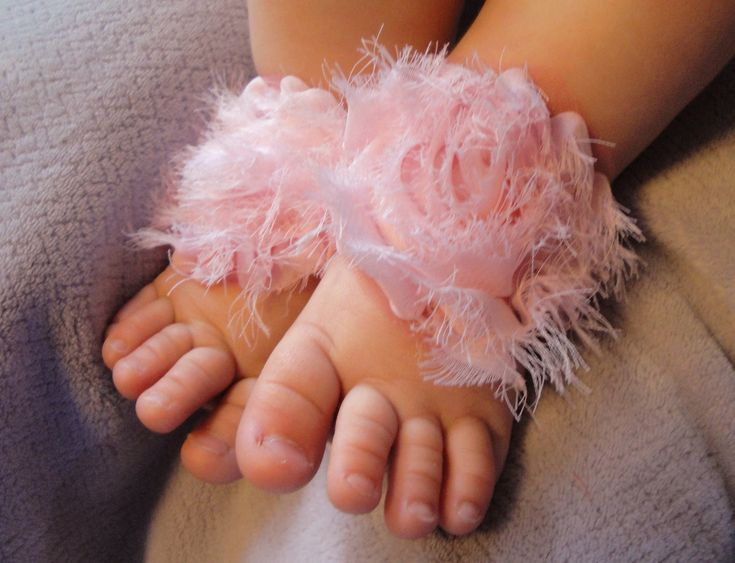 Baby Shoes, Baby Sandals, Barefoot Blossom (TM), Pink Shabby Chiffon