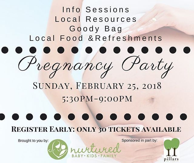 From @nurturedmom  Expecting?    Join us Sunday Feb. 25th 5:30pm-9pm . Our infamous Pregnancy Party is open for registration to the first 30 couples. Tickets still available. Link in bio. . Designed for1st-Time-Expectant Parent(s)who are due betweenLate April - Sept 2018. . This is a shopping event thatcombines education awareness special shopping deals tasty treats & many more laughs than you might expect & all Soon-to-be Moms will experience amini massage from Emily Parker & her crew…