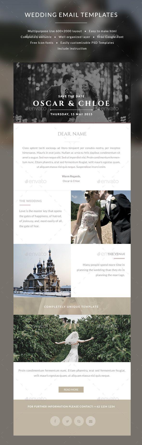 Email Wedding Invitation templates - Oscar - E-newsletters Web Elements