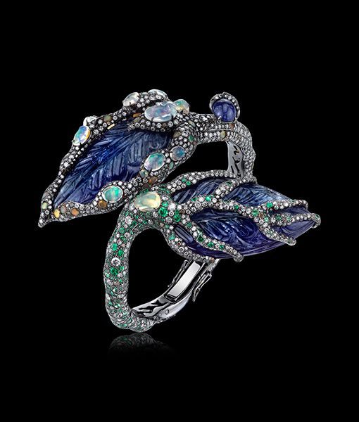 Tanzanite, Opal and Diamond Cuff by ARUNASHI