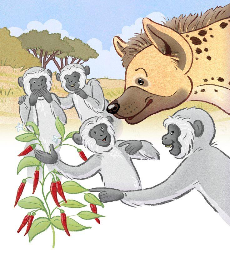 Hyena is tricked by a troop of vervet monkeys.