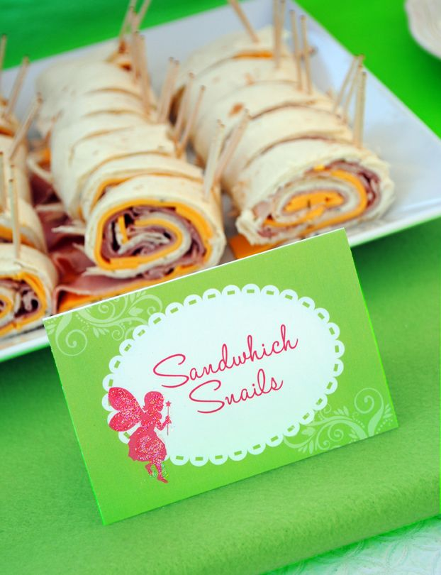 "Sandwich Snails**Flour Tortillas,  Cheese,Ham or Turkey lunch meat,  Chive Cream Cheese,small stick pretzels* Spread cream cheese on tortilla. Add 1 layer of cheese & meat on top of cream cheese. Roll up tortilla,cut into 1 1/2"" thick pieces.Stick pretzels at one end for snail antennae*"