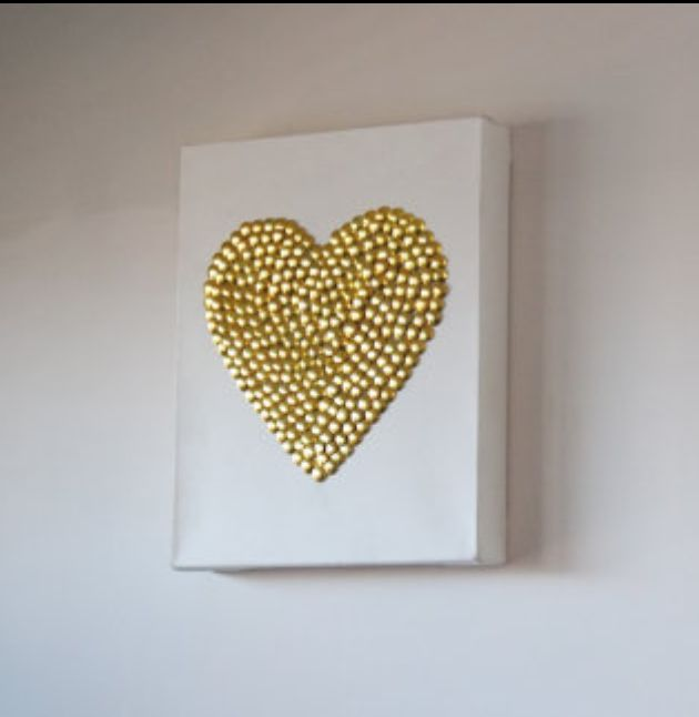 Gold pin art wall canvas. Gorgeous home decor. A heart to fill the home with love
