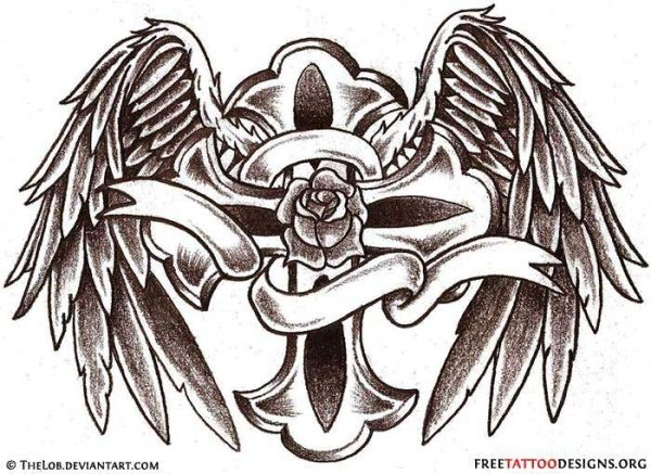 Angel Wings Tattoo Gallery | 50 Cross Tattoos | Tattoo Designs of Holy Christian, Celtic and Tribal ... by SmileyGurl6
