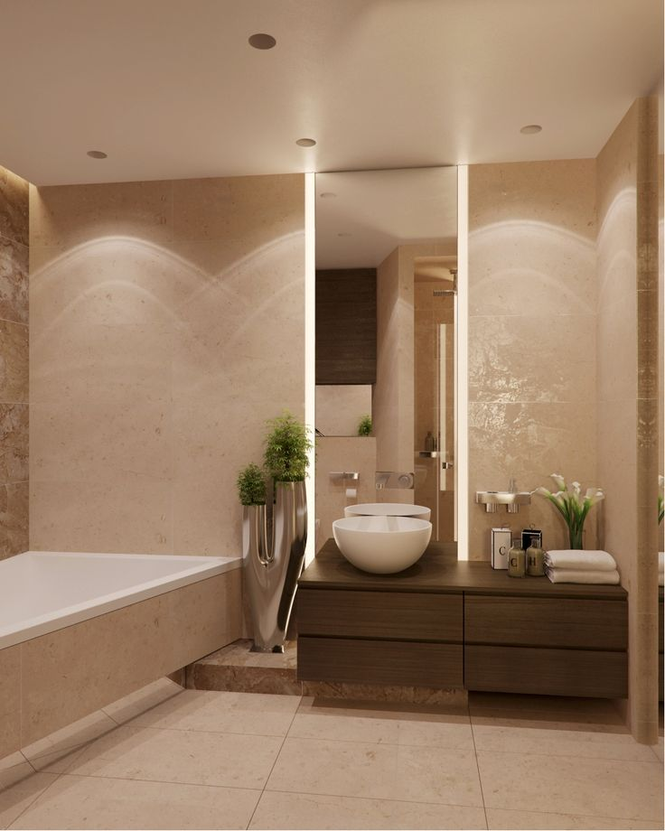 neutral bathroom with brown and green accent