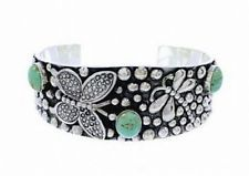 Sterling Silver Turquoise Bracelet Butterfly Dragonfly Cuff Womens s6.75-7
