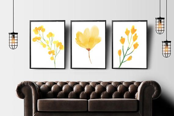 Yellow flowers set of 3 printable wall art floral home