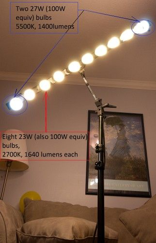 Build a CFL strip light from an umbrella stand and power strip