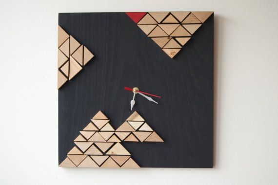 Deco Tectonic / Wood wall clock / Geometric mosaic / by DecoBoxRo, $63.00