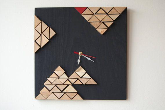 Deco Tectonic / Wood wall clock / Geometric mosaic / by DecoBoxRo