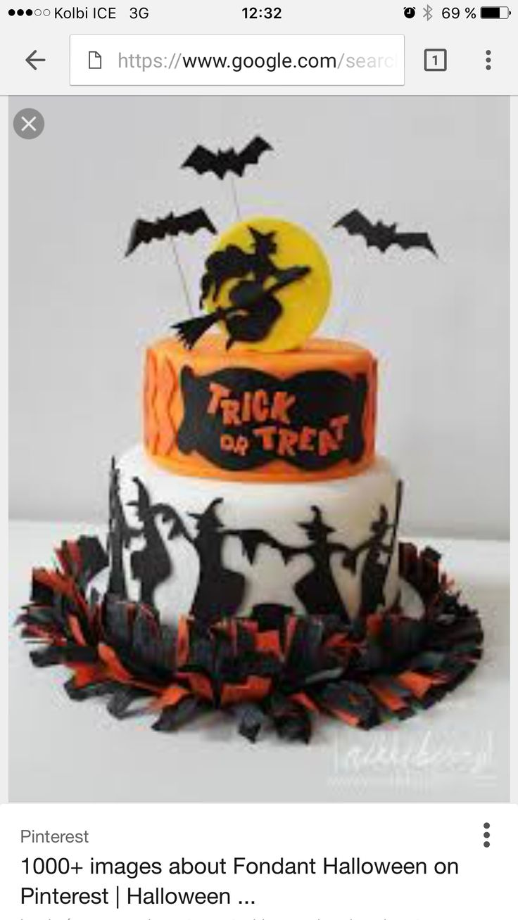 Elegant Halloween Cake with bats and witches might be nice for The Wicked Witches Bar and Grille