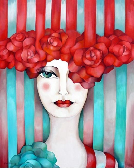 Belle Rose - acrylic by ©Karina Chavin www.karinachavin.com.ar/  (via Facebook)