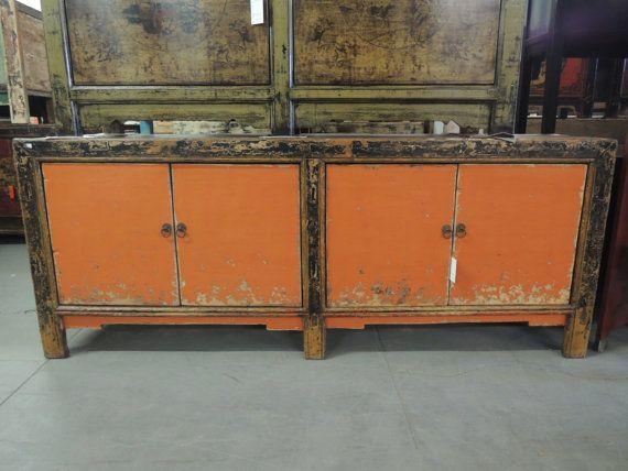 SALE  Antique Chinese Storage Credenza In Distressed Orange Los Angeles By  ModernRedLA