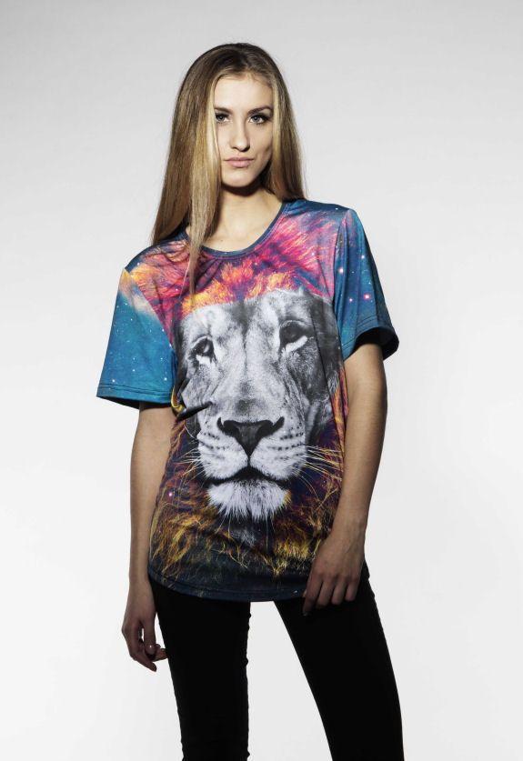 Galaxy Lion T-shirt by Brain Wash Clothing