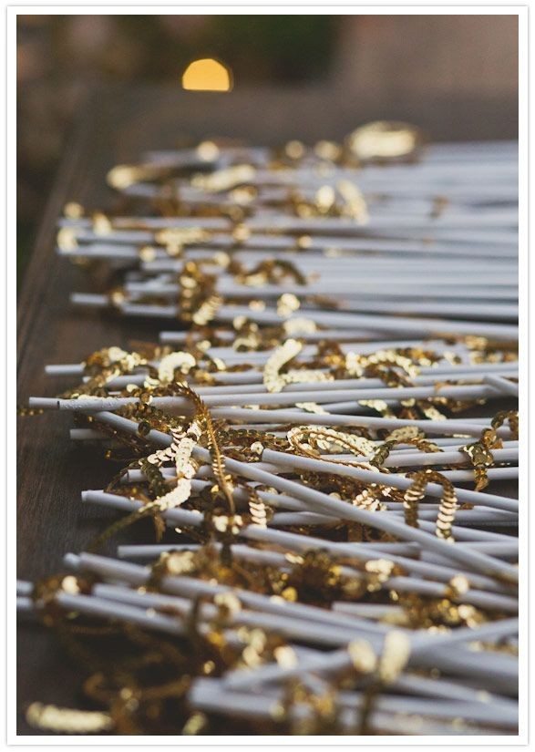 Gold sequin wands