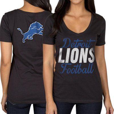 Detroit Lions Women's Live Ball V-Neck T-Shirt – Black