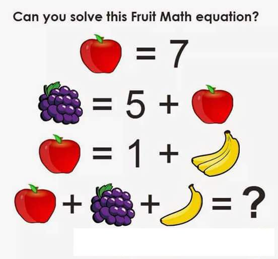 Guess this fruit math equation and enjoy eating fruits daily!