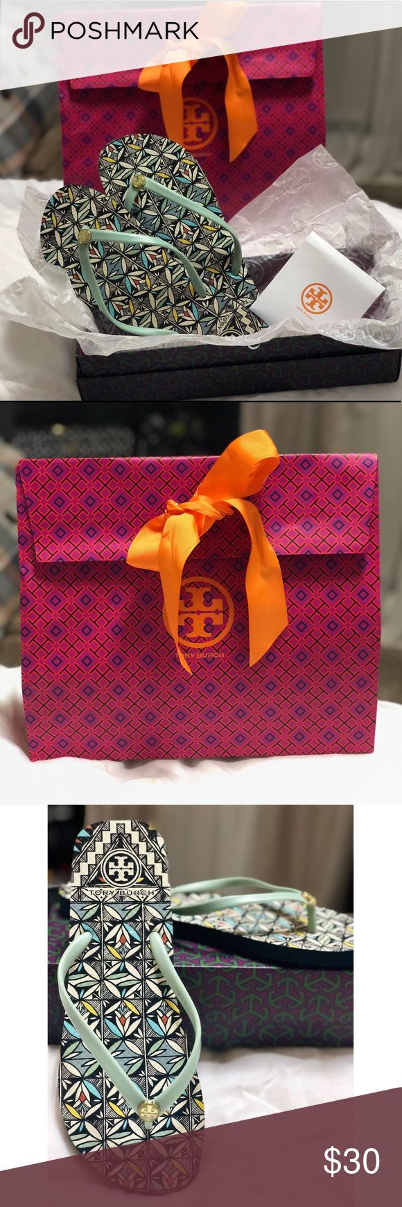 Tory Burch rubber flip flops Thin, floral print, rubber flip flop. Lightly used, but look like new! Comes with original shoe box and gift bag. Tory Burch Shoes Sandals