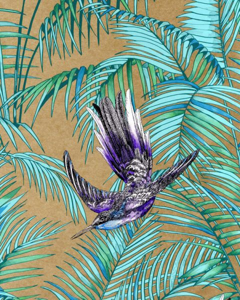 Osborne Little printed wallpaper by Matthew Williamson tropical print Тропический принт