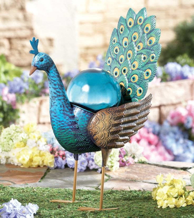 Beautiful Metal Peacock W Blue Gazing Ball Garden Statue