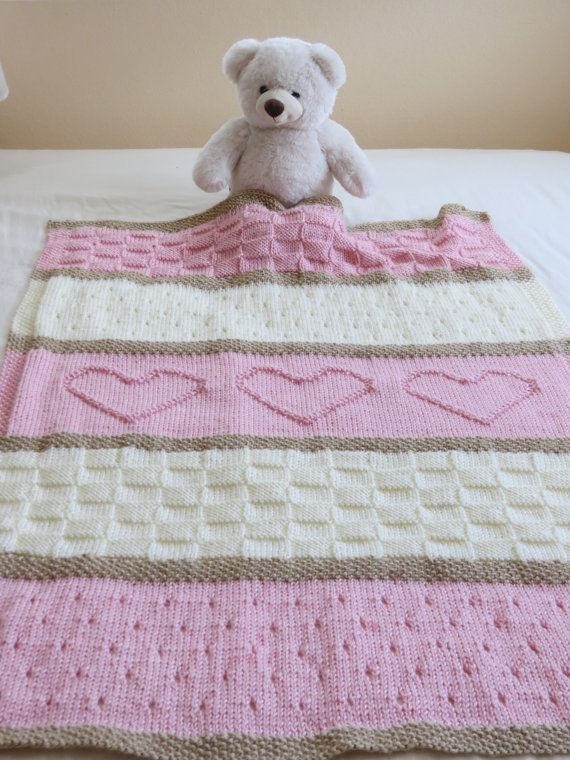 Knitting Pattern For Teddy Bear Baby Blanket : Baby Blanket Pattern, Knit Baby Blanket Pattern, Heart ...