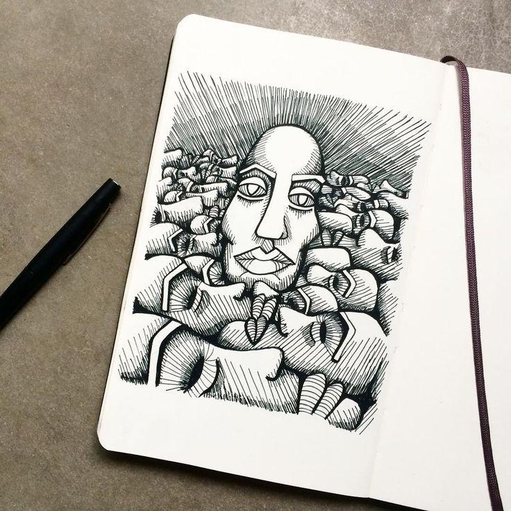 "Gefällt 124 Mal, 5 Kommentare - art. Janina Müller (@janinacarlottaeleonora) auf Instagram: ""After an inspiring weekend with the Misak natives in Silvia #sketchbook #sketch #portrait #face…"""