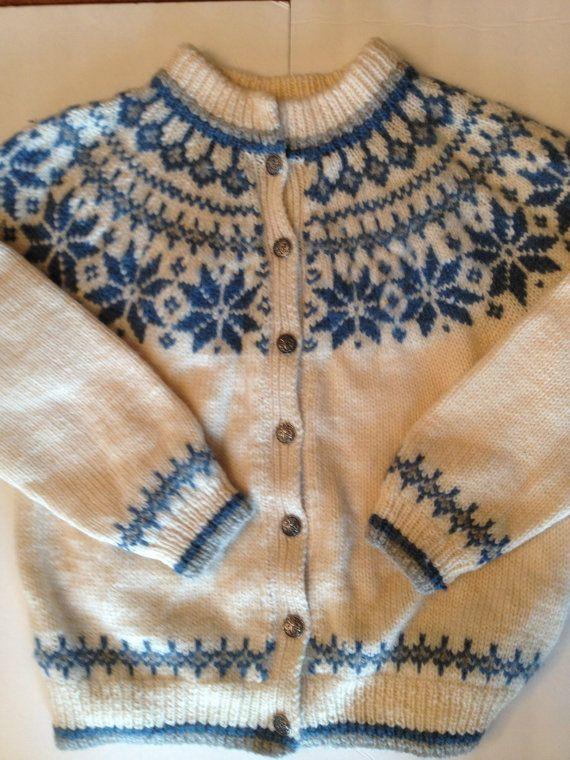 Dale of Norway Wool Sweater Cardigan / Blue by VintageByBeth
