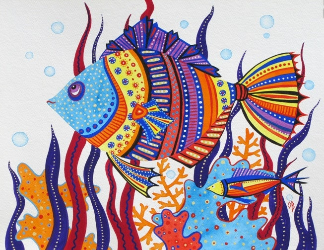 Fish ORIGINAL Nautical Painting Illustration by OlenaBacasArt, $35.00