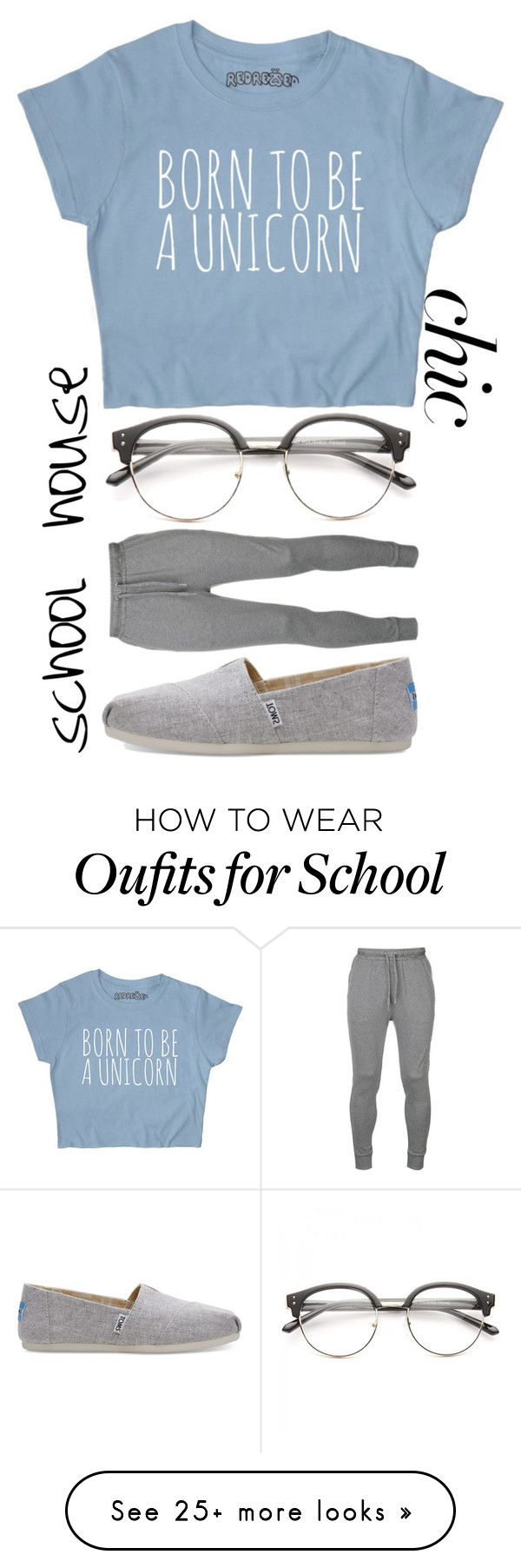 """""""Born to be a Unicorn: School House Chic"""" by patronus-moony-padfoot on Polyvore featuring Calvin Klein and TOMS"""