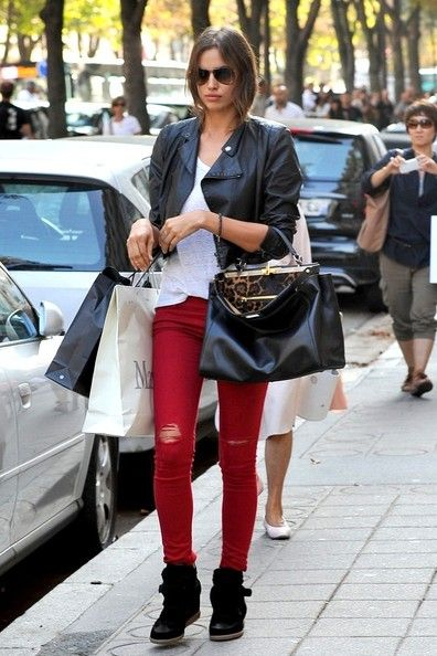 Irina Shayk - colored jeans