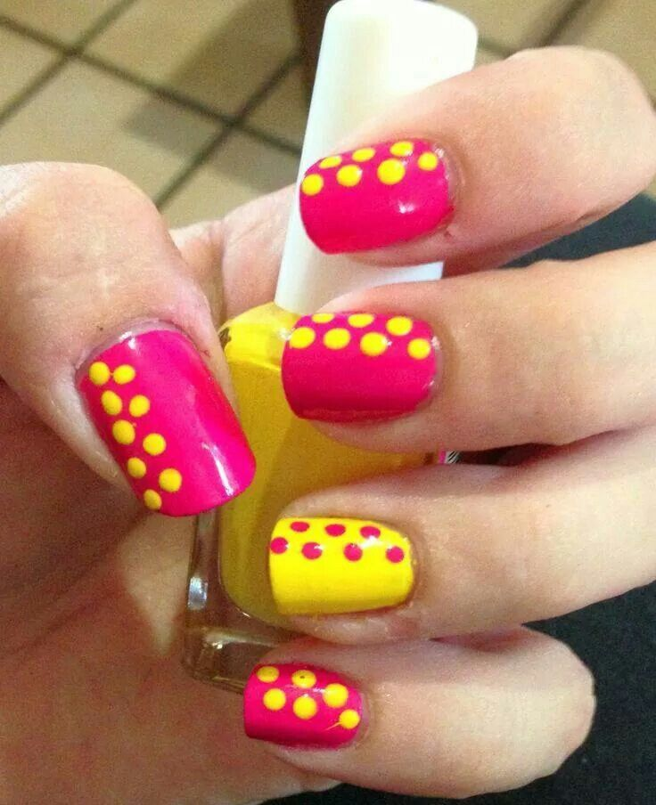 Hot pink and yellow with dots