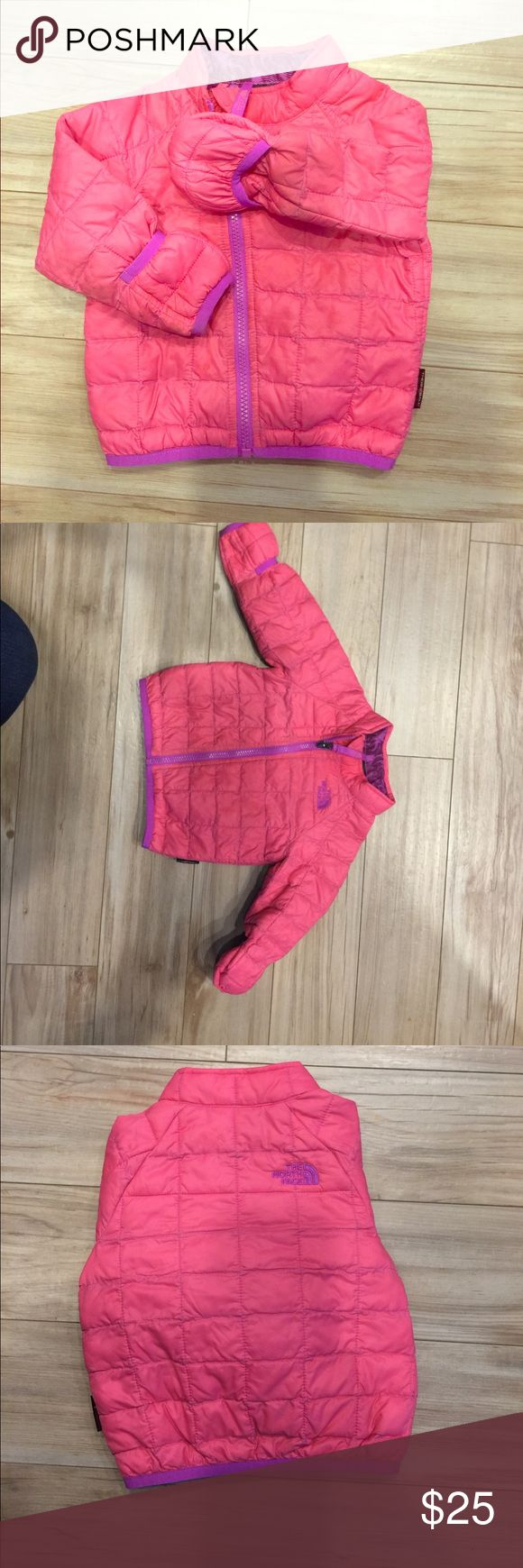 VGUC Toddler North Face Thermoball slim puffer Pink outer with purple stitching and purple interior. Slim puffer keeps your toddler warm, but feasible for car seat use. 6-12mo. The North Face Jackets & Coats Puffers