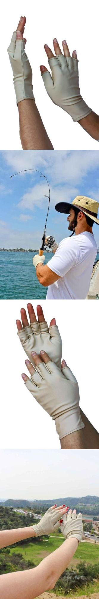 Gloves 65974: Men And Women S Outdoor Activity Fishing Fingerless Sun Protection Gloves, Beige -> BUY IT NOW ONLY: $33.32 on eBay!