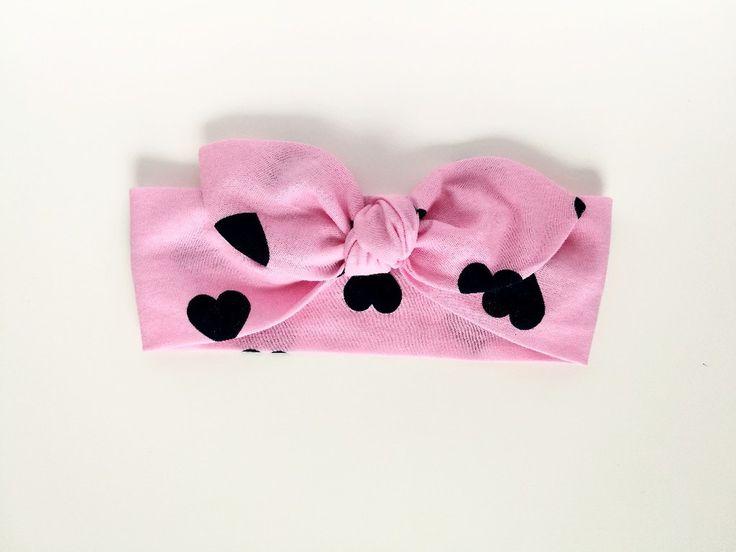 Bawełniana opaska pin-up róż granat serca - MadebyKaza - Opaski dla niemowląt