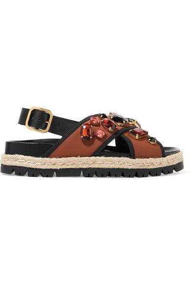 Marni - Embellished Neoprene Sandals - Tan - IT36