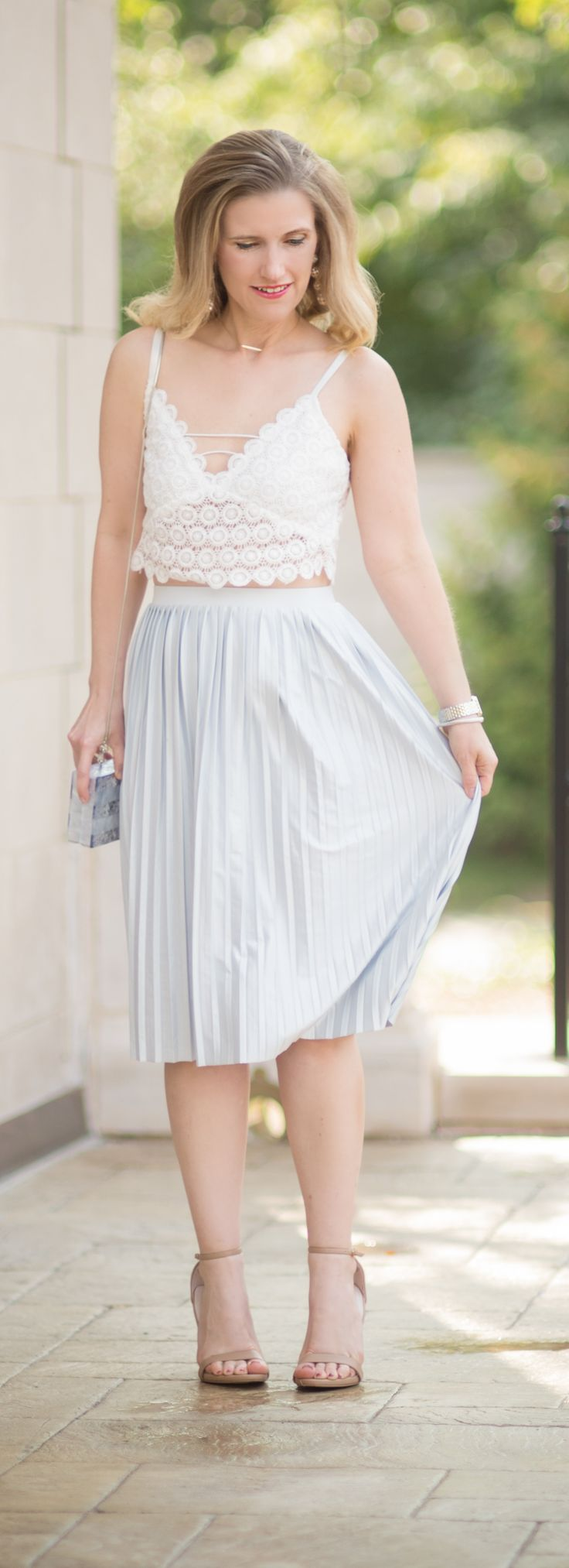 Petite Fashion and Style Blog   Misguided Circle Lace Crop Top   Topshop Pleated Midi Skirt   Milly Acrylic & Glitter Box Clutch   Click to Read More...