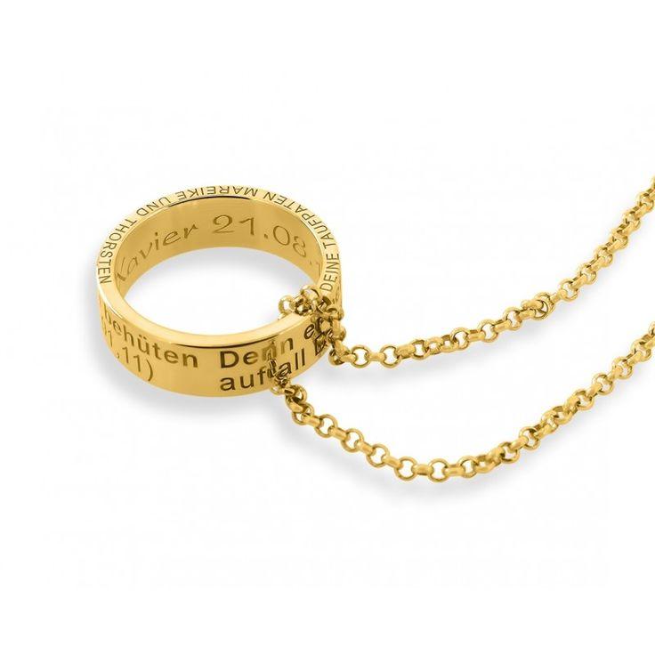 Eine schöne, personalisierte Kette aus 925 Sterling Silber hochwertig vergoldet. An der Kette hängt ein Anhänger Ring mit Ihrer gewünschten Gravur. Umlaufend ist folgender Taufspruch auf den Ring graviert: