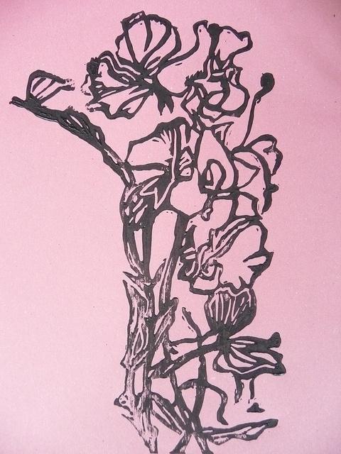 Sweet Pea Lino cut Print by English Girl at Home, via Flickr