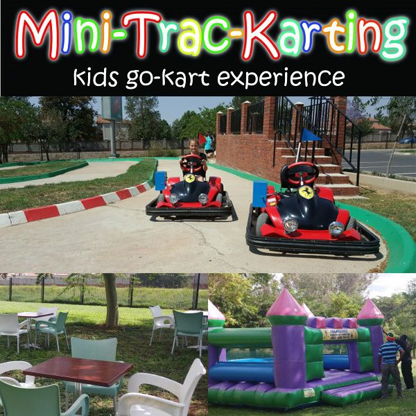 Mini Trac Karting offers awesome and safe Go-karting Parties for children age 6 to 11 years – Boys and Girls will enjoy these karts.  Best suited for maximum 20 kids  +/- 10 min racing per child as there are only 2 cars on the track at a time.