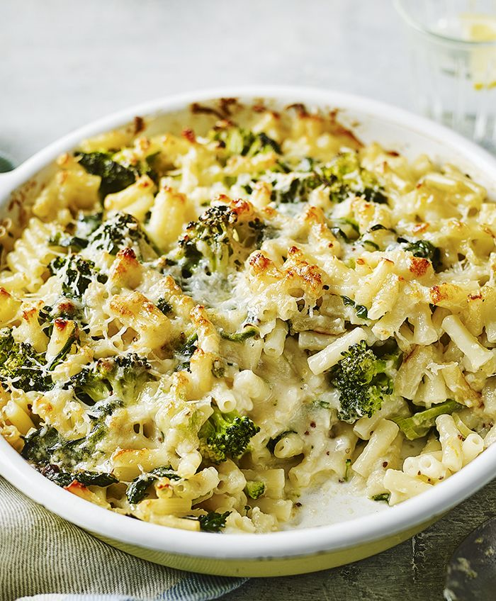 A pasta bake with a light cheese sauce packed with vegetables.
