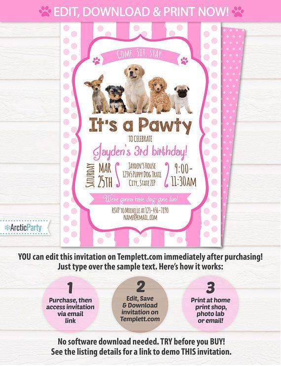 Puppy Birthday Invitation Dog Birthday Party Invitations $7.99 #PuppyBirthdayInvitation #DogBirthdayPartyInvitations #PuppyBirthdayInvitations #Corjl