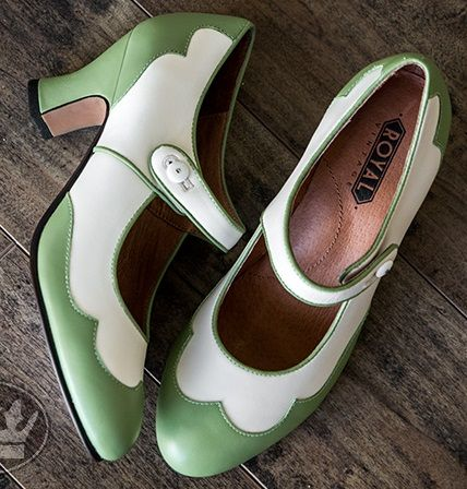 1920s green mary jane  Lillian Retro Spectator Shoes by Royal Vintage SageIvory