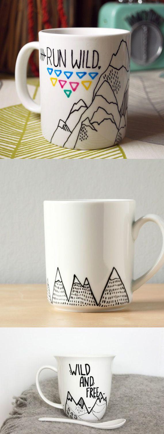 чашка с изображением  виде вершины или горы своими руками - подарок на день рождения скалолазу альпинисту