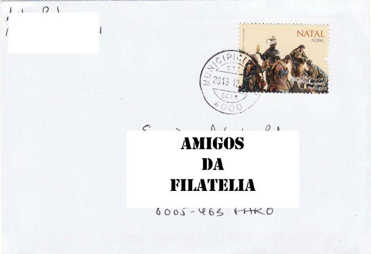Sobrescrito circulado do Porto para Estoi, datado de 10/12/2013 com selo de taxa N da série Natal 2013, colocado em circulação a 9 de outubro de 2013.