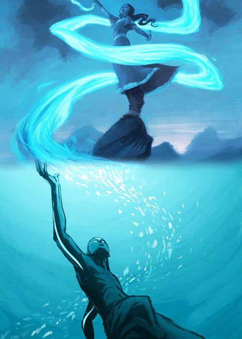 Aang and Katara, courtesy of the amazing Bryan Konietzko