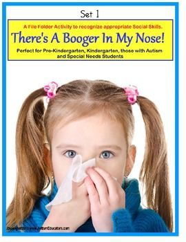 Social Skills Social Story and File Folder Activity About Picking Your Nose!  With a graphically blunt manner in which to show kids the way nose-picking looks to others.  The Social Story contains 11 real life photographs of nose-picking, nose-blowing, and that yucky excrement itself (we refer to it as boogers, snot, slime, mucous, or phlegm)! A follow-up File Folder activity is included.