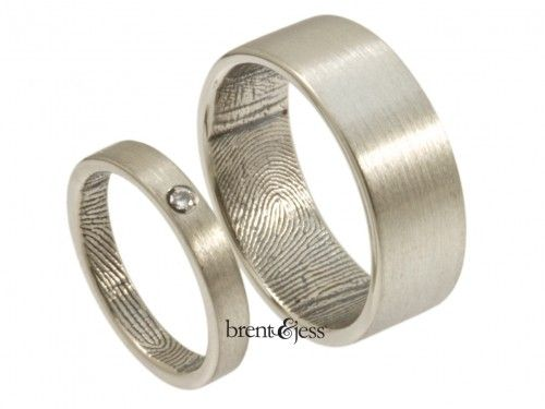 Diamond Wedding Ring Set of Flat Shaped Bands personalized with a finger length print wrapped around the inside darkened custom made fingerprint wedding rings in Sterling Silver 1317 - by Brent & Jess Custom Handmade Fingerprint Wedding Rings and Jewelry
